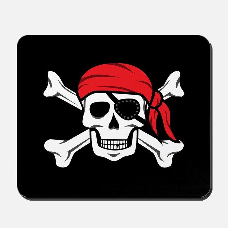 Jolly Roger Pirate (on Black) Mousepad