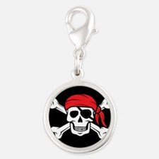 Jolly Roger Pirate (on Black) Charms