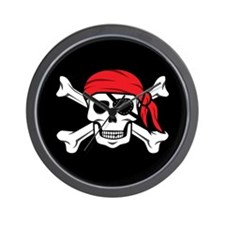 Jolly Roger Pirate (on Black) Wall Clock