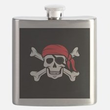 Jolly Roger Pirate (on Black) Flask