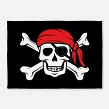 Jolly Roger Pirate (on Black) 5'x7'Area Rug