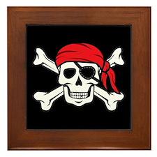 Jolly Roger Pirate (on Black) Framed Tile