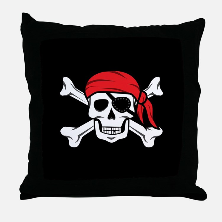 Jolly Roger Pirate (on Black) Throw Pillow
