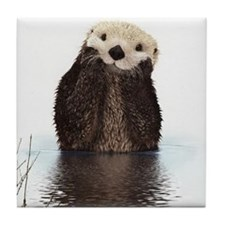 Bashful Sea Otter Tile Coaster