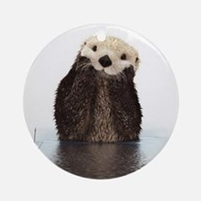 Bashful Sea Otter Ornament (Round)