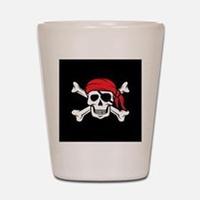 Jolly Roger Pirate (on Black) Shot Glass