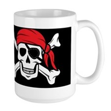 Jolly Roger Pirate (on Black) Mugs