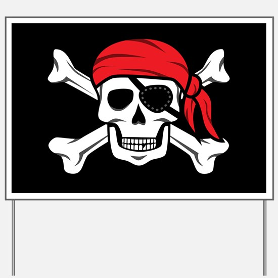 Jolly Roger Pirate (on Black) Yard Sign