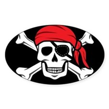 Jolly Roger Pirate (on Black) Decal