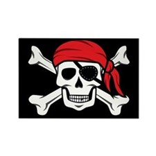 Jolly Roger Pirate (on Black) Magnets