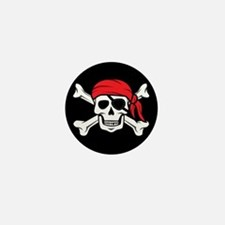 Jolly Roger Pirate (on Black) Mini Button