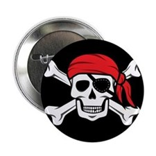 """Jolly Roger Pirate (on Black) 2.25"""" Button"""