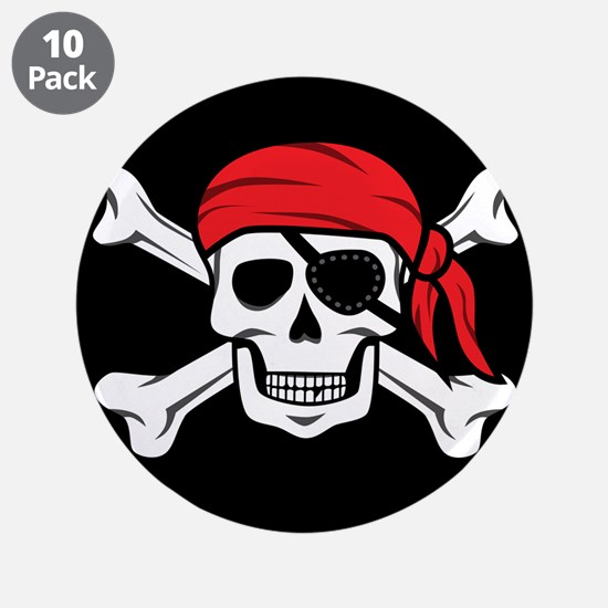 "Jolly Roger Pirate (on Black 3.5"" Button (10 pack)"