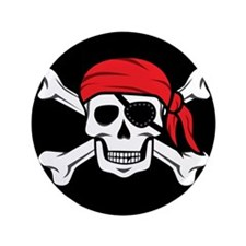 "Jolly Roger Pirate (on Black) 3.5"" Button"