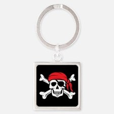 Jolly Roger Pirate (on Black) Keychains