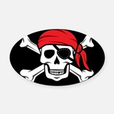 Jolly Roger Pirate (on Black) Oval Car Magnet