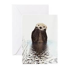 Bashful Sea Otter Greeting Cards