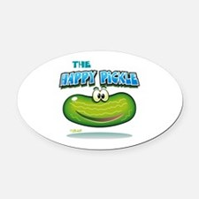 The Happy Pickle Oval Car Magnet