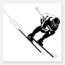 """Ski Racer Square Car Magnet 3"""" x 3"""""""