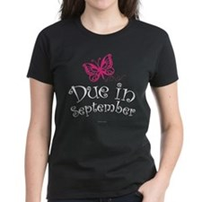 Due in September Butterfly Maternity T-Shirt