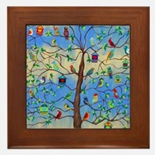 Cute Bird art Framed Tile