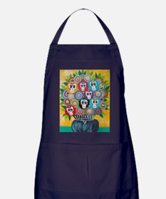 flowers sugar skull Apron (dark)