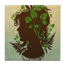 Leaf And Vine Woman Tile Coaster