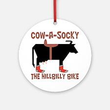 Cow A Socky Hillbilly Bike Ornament (Round)