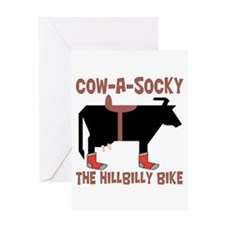 Cow A Socky Hillbilly Bike Greeting Card