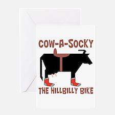 Cow A Socky Hillbilly Bike Greeting Card