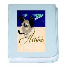 Laika Dog Cosmonaut USSR Space Poster baby blanket