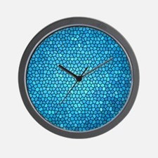 Pale blue  color stained glass pattern Wall Clock