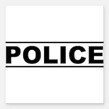"""Police Square Car Magnet 3"""" x 3"""""""
