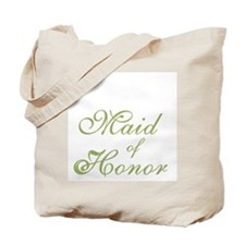 Sheer Elegance Maid of Honor Green Text Tote Bag