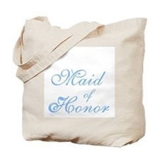 Sheer Elegance Maid of Honor Blue Text Tote Bag