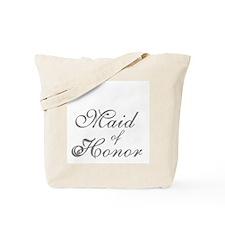 Sheer Elegance Maid of Honor Gray Text Tote Bag