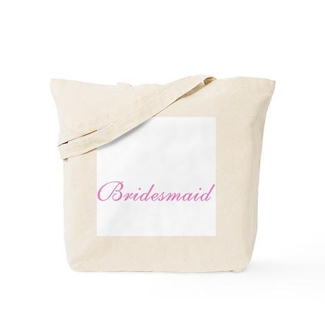 Bridesmaid Elegant Pink Text Tote Bag