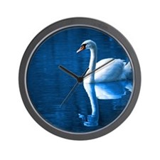 Swan on Calm Lake Wall Clock
