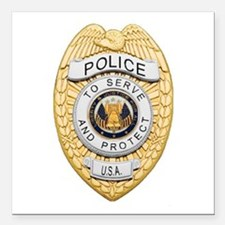 "Police Badge Square Car Magnet 3"" x 3"""
