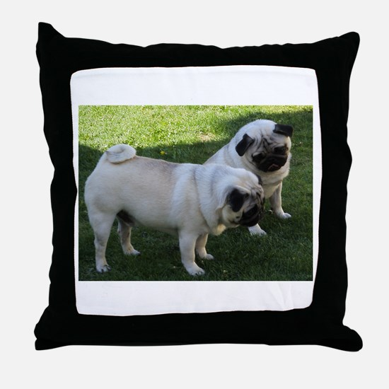 Two fawn Pugs Throw Pillow