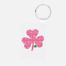Pink Shamrocks Wee Green Keychains