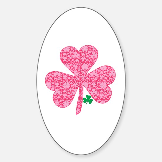 Pink Shamrocks Wee Green Sticker (Oval)