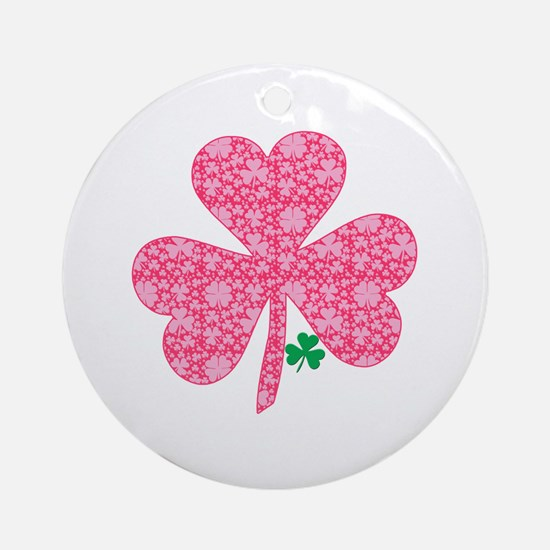 Pink Shamrocks Wee Green Ornament (Round)