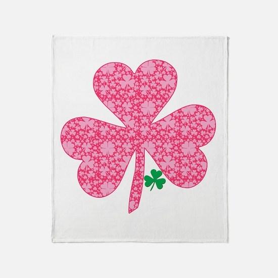 Pink Shamrocks Wee Green Throw Blanket
