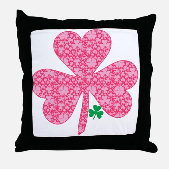Pink Shamrocks Wee Green Throw Pillow