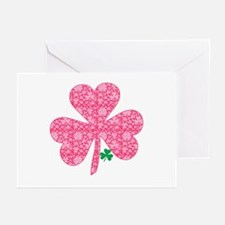 Pink Shamrocks Wee Green Greeting Cards (Pk of 10)