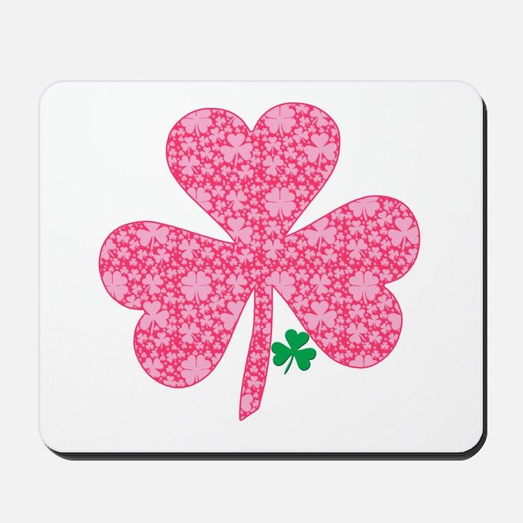 Pink Shamrocks Wee Green Mousepad