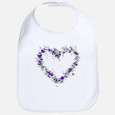 Purple Flower Heart Bib