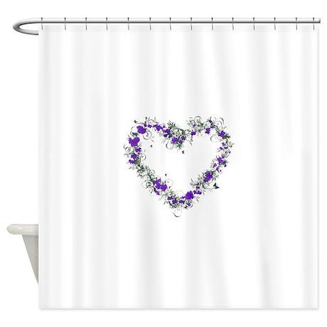 Purple Flower Heart Shower Curtain By Admin Cp74656649