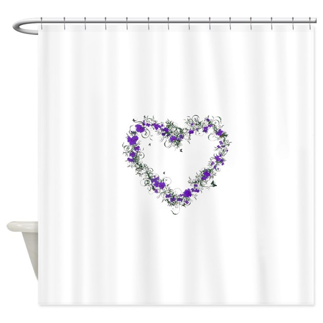 purple flower heart shower curtain by admin cp74656649. Black Bedroom Furniture Sets. Home Design Ideas